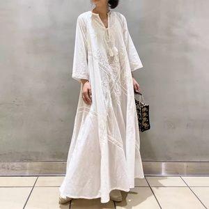 Onjia Embroidered Stitch Summer A Line Maxi Dress